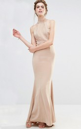 Ankle-Length Sheath High Neck Sleeveless Chiffon Bridesmaid Dress With Straps