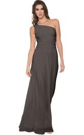 One-shoulder Sleeveless Chiffon Floor-length Bridesmaid Dress
