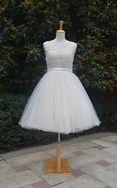 Tulle Jewel Keyhole Back Midi-Length Short Lace Dress