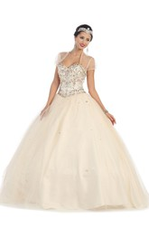 Long Jeweled Cape Sweetheart Strapless Satin Tulle Lace-Up Ball Gown