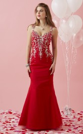 Strapped Mermaid Beaded Prom Dress With Keyhole