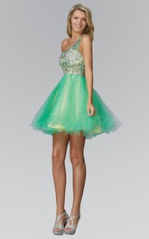 A-Line Jeweled Ruffled Short Mini Sleeveless One-Shoulder Tulle Dress