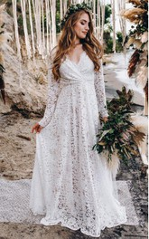 Romantic A Line Lace Long Sleeve V-neck Floor-length Wedding Dress with Criss Cross and Ruching