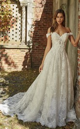 Adorable Off-the-shoulder Sweetheart A-line Wedding Gown With Lace Appliques And Open Back