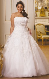 Strapless Lace plus size Ball Gown With Sweep Train