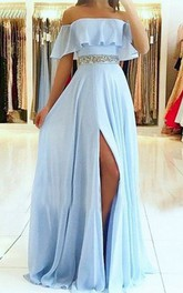 Off-the-shoulder Chiffon Sleeveless Floor-length Evening Dress with Beading and Pleats