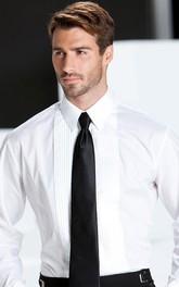 Solid Laydown Pleated  Tuxedo Shirt