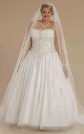 Strapless Tulle Satin plus size Ball Gown With Ruching And Beading