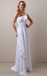 One-shoulder Sleeveless Chiffon Ruched With Appliques Draping