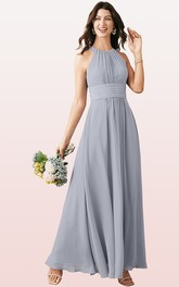 Casual A Line Chiffon Halter Ankle-length Bridesmaid Dress With Ruching