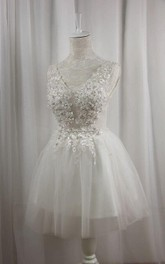 short V-neck A-line Tulle Dress With Beading And Corset Back