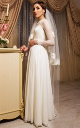 Scoop-neck Illusion Long Sleeve Lace Wedding Dress With bow