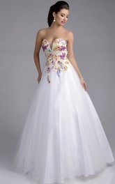 Tulle Formal A-Line Beaded Belt Sweetheart Lace Sleeveless Appliqued Dress