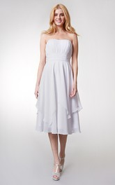 Tea-Length High-Waist Strapless Layered Bridesmaid Dress