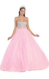 Full-Length Backless Jeweled Sweetheart Strapless Tulle Sleeveless Satin Ball Gown
