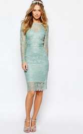 Pencil Knee-length Scoop-neck Long Sleeve Lace Dress With bow