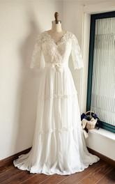 Lace Low-V Back Wedding Chiffon Backless Satin Dress