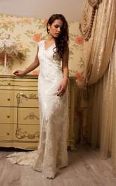 Satin Illusion Corset Back Lace Tulle Bridal Dress