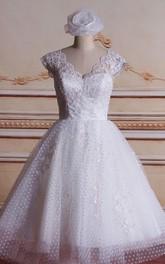 Tea-Length Lace Bridal Ball-Gown Princess Satin Tulle Dress