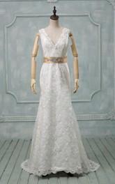 Lace Satin Ribbon Crystal Deep-V-Back V-Neckline Dress