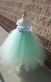 High-Waist Vintage Floral Mint Beautiful Tutu Dress