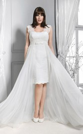 Lace V-neck Sleeveless Pencil Wedding Dress With Detachable Train