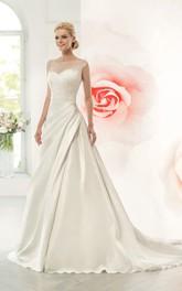 Cap-Sleeve Side Draping Jewel Floor-Length A-Line Satin Dress