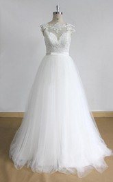 Lace Deep-V-Cutting Ivory Open-Back Bridal Dress