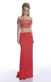 Crop-Top Crystal Jeweled Appliqued Off-The-Shoulder Column Formal Dress