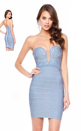 Pencil Short Strapless Sleeveless Backless Dress With Beading