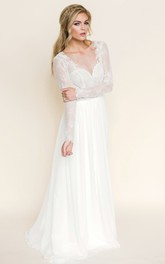 Plunged Illusion Long Sleeve Backless Wedding Dress With Sweep Train