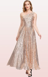 Vintage A Line Sequins One-shoulder Ankle-length Bridesmaid Dress With Ruching