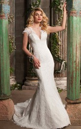 Lace Cap-sleeve Plunged Sheath Wedding Dress With Illusion And Sweep Train