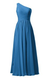 Floor-Length Chiffon Ruched-Bodice Single-Shoulder Pleated Gown