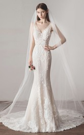 Sleeveless Simple Mermaid Wedding Dress With V-neck Lace And Illusion Top With Deep V-back