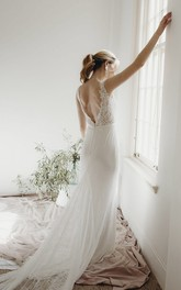 Elegant Sheath Sleeveless Plunging V-neck Lace Bridal Gown With Deep V-back And Buttons