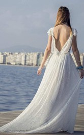Appliques Lace Backless Wedding Dress