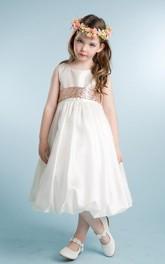 Tulle Sleeveless Tea-Length Sequined Flower Girl Dress