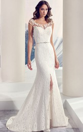 Scoop-neck Cap-sleeve Sheath Lace Wedding Dress With Split Front And Beading