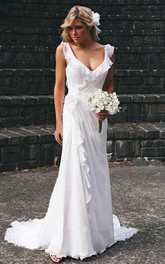 V-neck Chiffon Cap Short Sleeve Wedding Gown