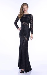 Bateau Lace Sheath fishtail Evening Dress With Pleats