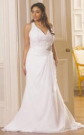 Plunged Sleeveless Mermaid Chiffon plus size wedding dress With Corset Back