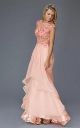 A-Line Appliqued Full-Length Scoop-Neck Chiffon Cap-Sleeve Illusion Dress