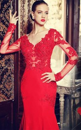 Mermaid Lace Appliqued Brush Train Red Sassy Gown
