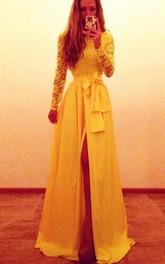 Sexy Long Sleeve Lace Chiffon Yellow Evening Dress Bowknot Front Split