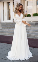 Elegant Chiffon Sheath V-Neck Long Sleeve Wedding Dress