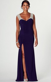 dipped-v-neck Beaded Sleeveless Jersey Prom Dress With Split Front And Illusion