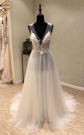 Stunning V-neck Sleeveless Brush Train Wedding Dress with Appliques