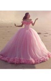 Luxury Off-the-shoulder Short Sleeve Tulle Ball Gown Dress