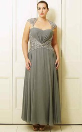 Queen Anne Ankle-length Chiffon plus size Dress With Beading And Illusion